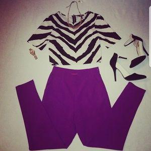 Zebra print Shirt and purple colored Capri Pants